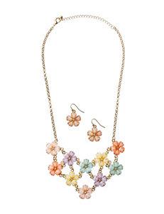 Hannah 2-pc. Multicolor Cab Stone Floral Design Earrings & Necklace Set