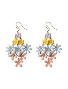 Hannah Multicolor Cab Stone Floral Drop Earrings