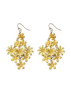 Hannah Yellow Cab Stone Floral Drop Earrings