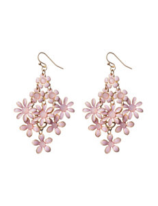 Hannah Pink Cab Stone Floral Drop Earrings