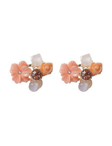 Hannah Floral & Multicolor Stone Cluster Stud Earrings