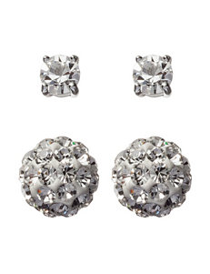Sunstone 2-Pair Cubic Zirconia Fireball & Round Stud Earrings