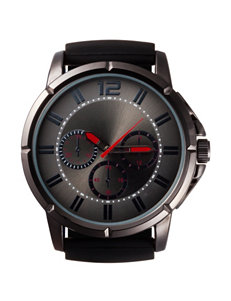 Global Time Black Silicone Strap Watch