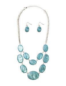 Hannah 2-pc. Blue Cab Stone Earrings & Necklace Set