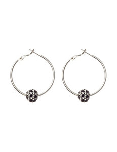 Athra Silver Plated Black & Clear Fireball Hoop Earrings