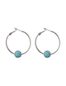 Athra Silver Plated Light Blue Fireball Hoop Earrings
