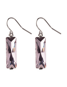 Athra Fine Silver-Plated Pink Crystal Drop Earrings