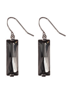 Athra Fine Silver-Plated Hematite Crystal Drop Earrings
