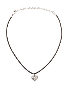 Athra Silver Plated Filigree Heart Choker Necklace