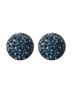 Athra Fine Silver-Plated Blue Crystal Disc Stud Earrings