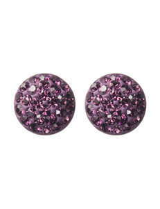 Athra Fine Silver-Plated Pink Crystal Disc Stud Earrings