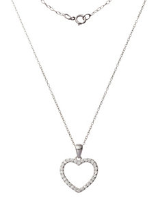 Sunstone Sterling Silver Heart Pendant With Cubic Zirconia Accent Necklace