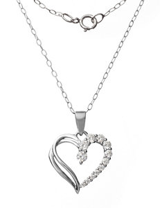 Sunstone Sterling Silver Cubic Zirconia Heart Shape Pendant Necklace
