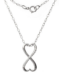 Sunstone Sterling Silver Dual Open Heart Pendant With Cubic Zirconia Accent Necklace
