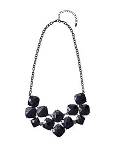 Hannah Black Faceted Cab Stone Bib Necklace