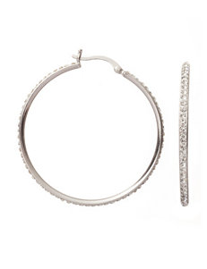 NES 40mm Crystal Pave Hoop Earrings