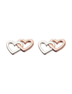 18K Gold Over Sterling Silver Double Heart Stud Earrings