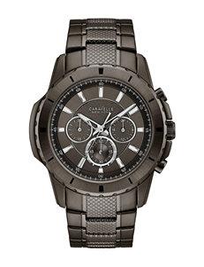 Caravelle New York Stainless Steel Gunmetal Grey Chronograph Watch