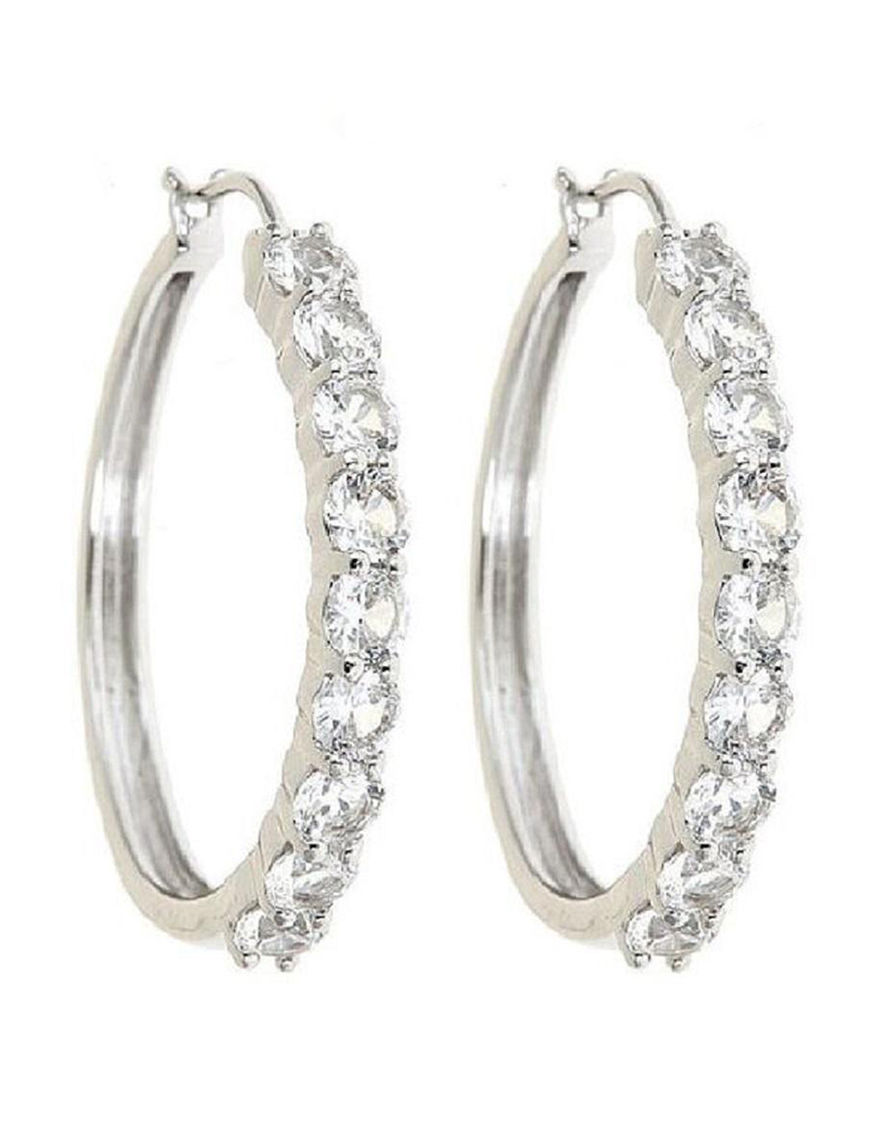 White Hoops Earrings Fine Jewelry