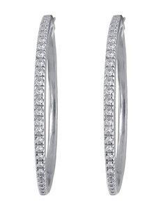 Rhodium-Plated 1/4 CT. T.D.W. Diamond Hoop Earrings