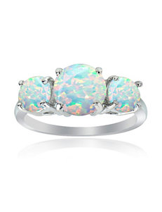 Sterling Silver Created Opal Graduated Ring