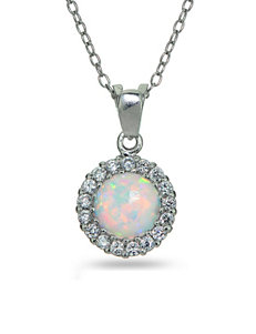 Sterling Silver Created Opal Circular Necklace