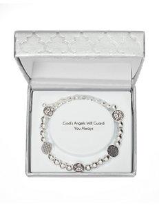 Fine Silver-Plated Angel Disc Charm Adjustable Bracelet
