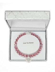 Fine Silver-Plated Crystal Beaded Open Heart Adjustable Bracelet