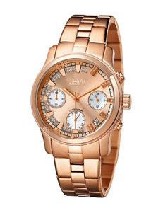 JBW 18K Rose Gold-Plated Diamond Accent Bracelet Watch