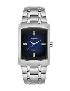 Armitron Silver-Tone Swavarski Crystal Accents Dress Watch