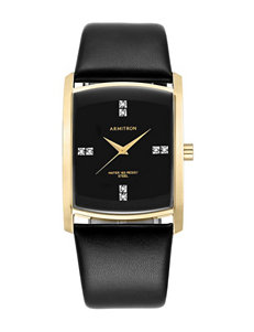 Armitron Leather Swavarski Crystal Accents Dress Watch