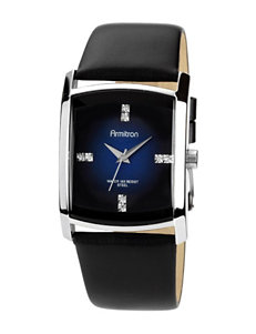 Armitron Black Leather Strap & Rectangle Case Fashion Watch