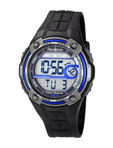 Armitron Digital Multifunction Black & Blue Round Case Sport Watch
