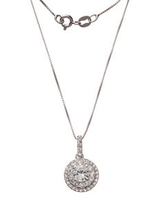 Sterling Silver Created Sapphire & Diamond Accent Halo Necklace