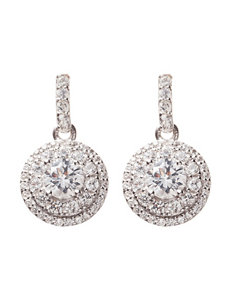 Sterling Silver Created Sapphire & Diamond Accent Drop Earrings