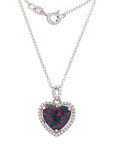 Kencraft Created Opal Heart Necklace
