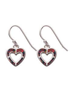 Kencraft Created Opal Heart Drop Earrings