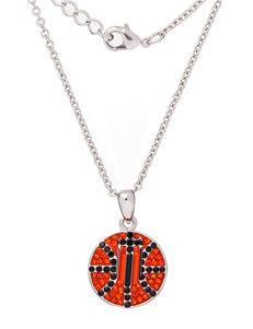 Anthra Silver-Plated Basketball Necklace