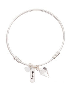Silver-Plated Love Charm Bangle Bracelet