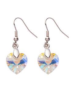 Silver-Plated Swarovski Crystal Heart Drop Earrings