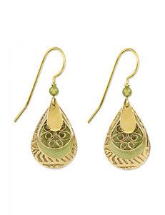Silver Forest Green Drops Earrings Fashion Jewelry