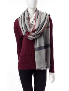 V. Fraas Plaid Knit Blanket Scarf