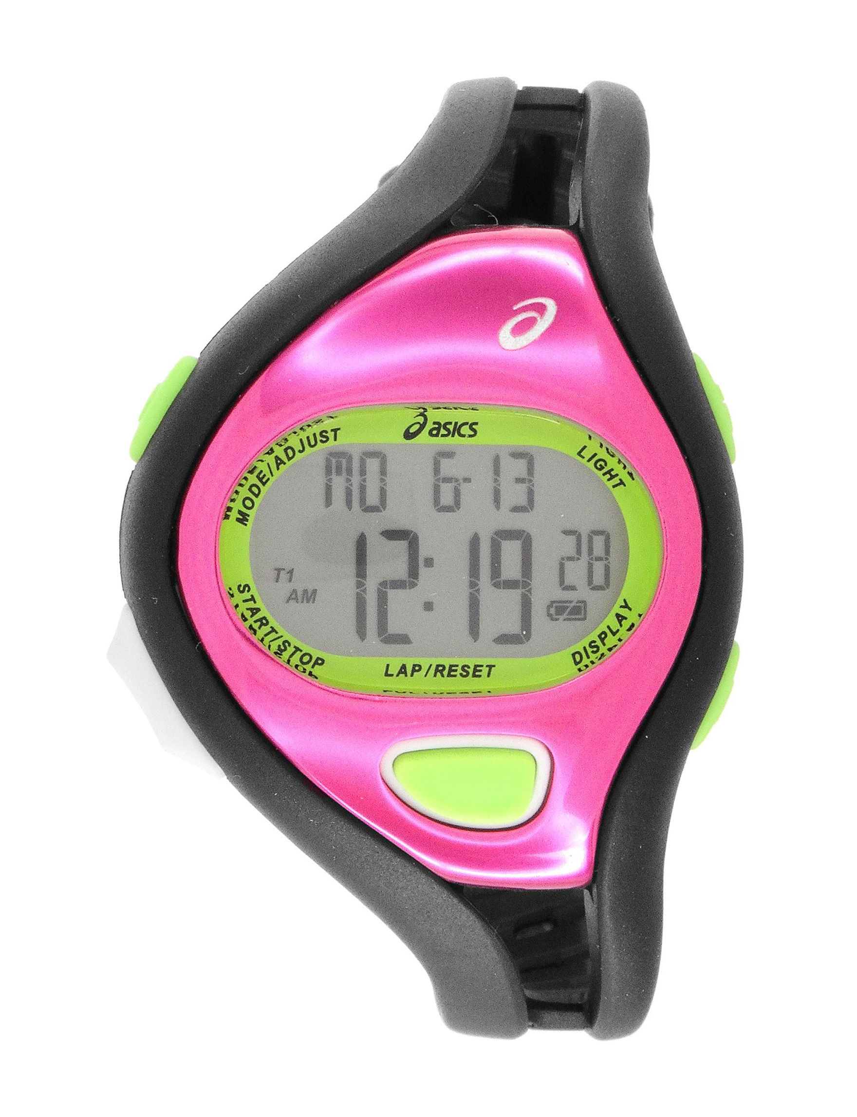 Asics Black / Pink Sport Watches