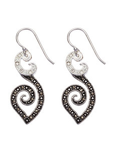 Marsala Black / Silver Drops Earrings Fine Jewelry
