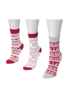Muk Luks Red / Grey Socks