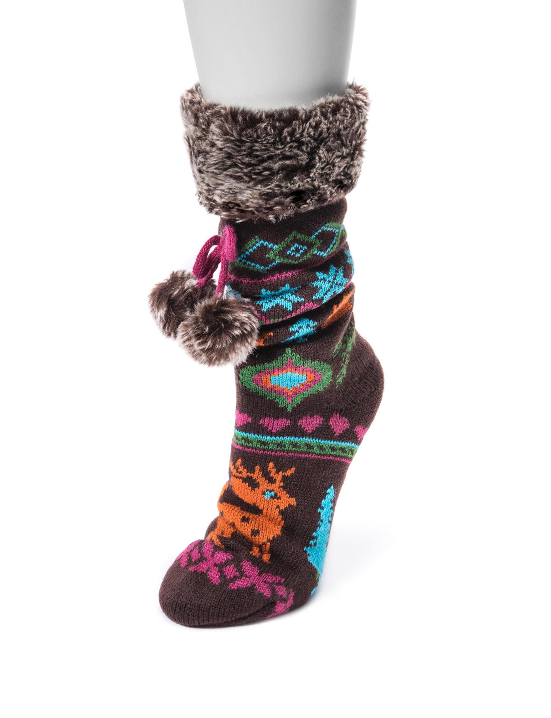 Muk Luks Brown Socks