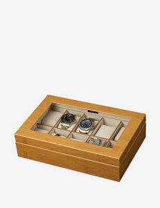 Mele & Co. Logan Glass Top Wooden Watch Box
