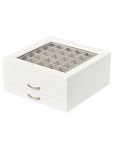 Mele & Co Liza Glass Top Wooden Jewelry Box in White