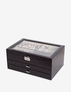 Mele & Co. Alana Glass Top Locking Jewelry Box