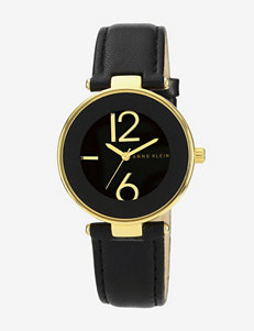 Anne Klein Gold Tone With Black Leather Band Watch – Ladies